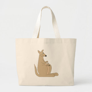 Cutest cartoon kangaroo with baby gifts and tees! large tote bag