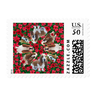 Cutest Christmas Basset Hound Stamp on Earth