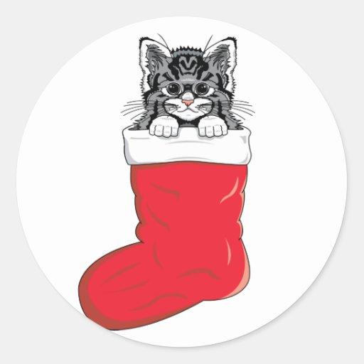 Cutest Christmas Kitten Classic Round Sticker