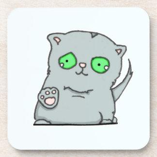 Cutest green-eyed grey kitten coaster