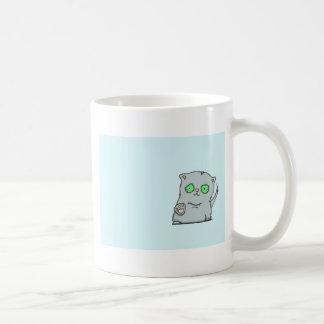 Cutest green-eyed grey kitten coffee mug