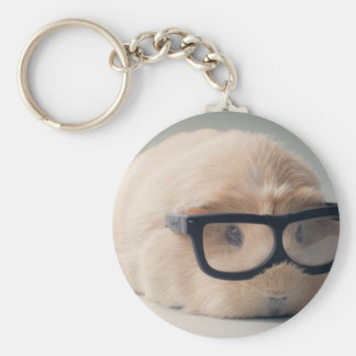 Cutest guinea pig wearing glasses keychain