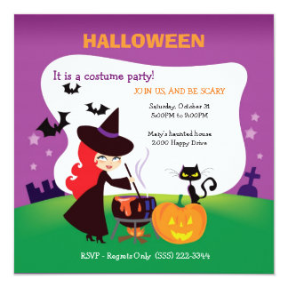 Cutest Kid Halloween Party with witch Custom Invite