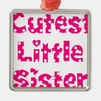 cutest little sister pink polka dot metal ornament