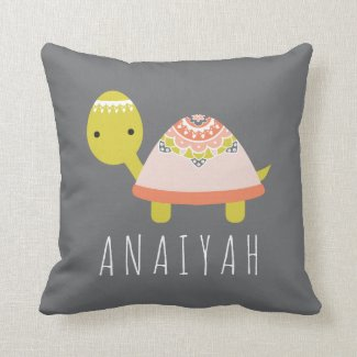 Cutest Little Turtle Personalized Throw Pillow