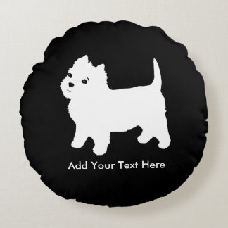 Cutest Little Westie Dog - Westhighland Terrier Round Pillow