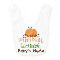 Cutest Pumpkin In The Patch Fall Baby Bib