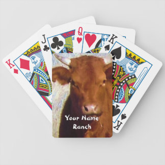 Cutest Red Cow - Your Name Ranch Western Bicycle Playing Cards