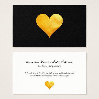 Cutesy Gold Heart Business Card