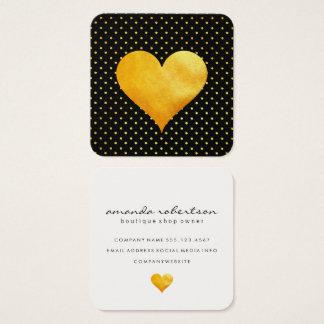 Cutesy Gold Heart Polka Dot Pattern Square Business Card