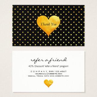 Cutesy Gold Heart Polka Dot Thank You / Referral Business Card