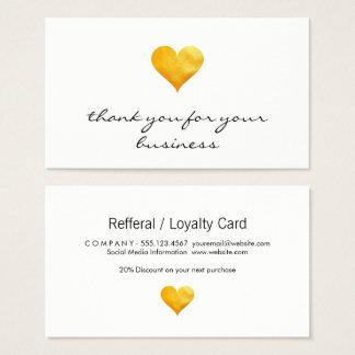 Cutesy Gold Heart Thank You Business Card