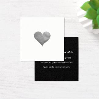Cutesy Gray Heart Square Business Card