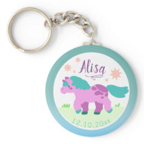 Cutesy Personalized Pink Pony Cartoon Vector Art Keychain