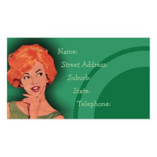 Cutesy Retro Redhead Hairdressing Card Green 2