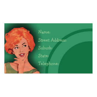 Cutesy Retro Redhead Hairdressing Card Green Business Cards