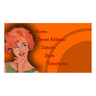 Cutesy Retro Redhead Hairdressing Card Orange 2 Double-Sided Standard Business Cards (Pack Of 100)