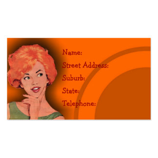 Cutesy Retro Redhead Hairdressing Card Orange Double-Sided Standard Business Cards (Pack Of 100)