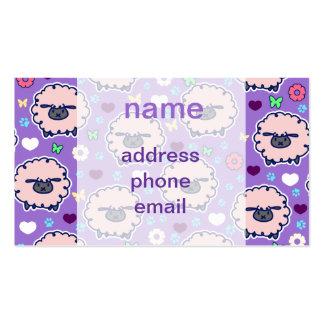 Cutesy Sheep Purpl Pattern Business Card Templates