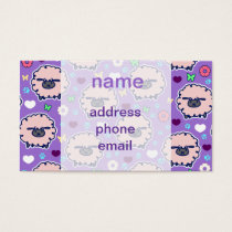 Cutesy Sheep Purpl Pattern Business Card