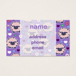 Cutesy Sheep Purpl Pattern Business Card