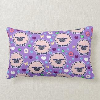 Cutesy Sheep Purpl Pattern Throw Pillow