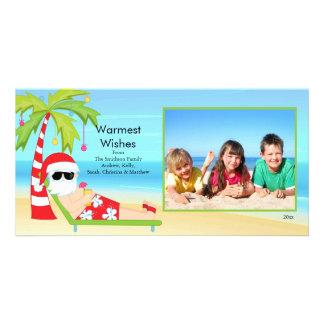 CuteTropical Christmas Santa Family Photo Card. Card