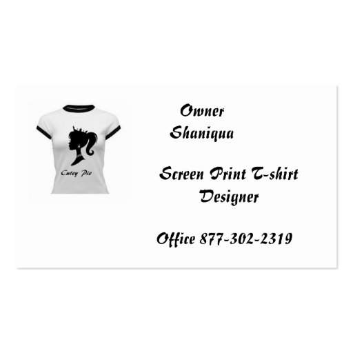Cutey pie screen print deisgner shirts business card zazzle for Business cards for t shirt business