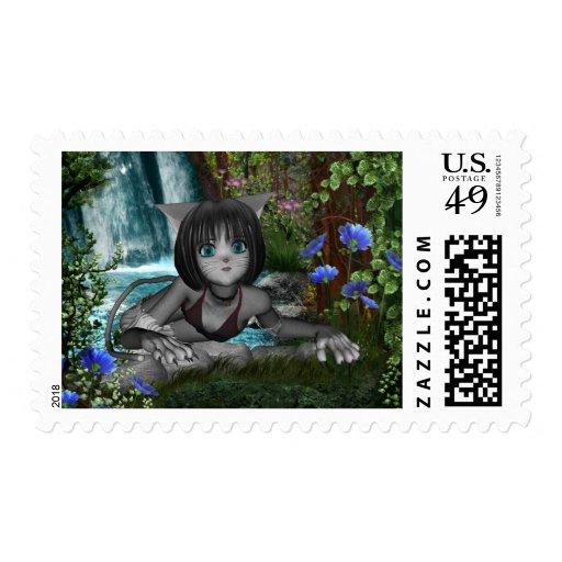 Cutie Anime Kitten Waterfalls 1 Postage Stamp