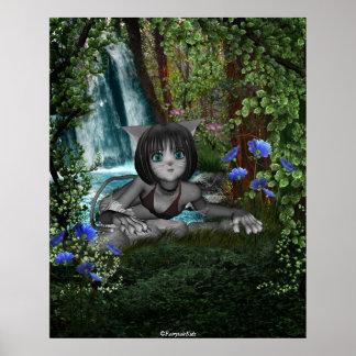 Cutie Anime Kitten Waterfalls 1 Poster
