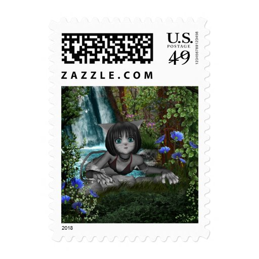 Cutie Anime Kitten Waterfalls 1 Stamps