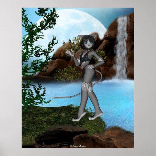 Cutie Anime Kitten Waterfalls Moon 1 Poster