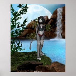 Cutie Anime Kitten Waterfalls Moon 4 Poster