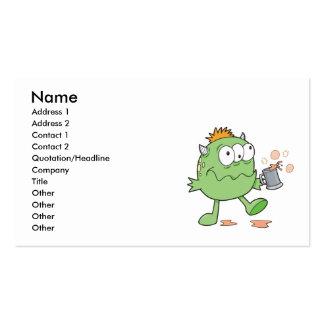 cutie bebido verde torpe del monstruo tarjetas de visita