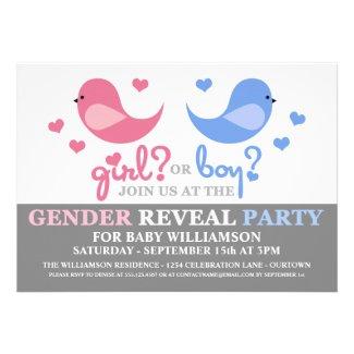 Cutie Birds Baby Gender Reveal Party Invitation