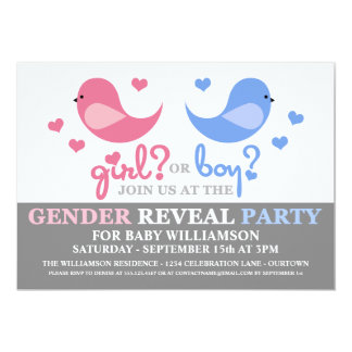 Cutie Birds Baby Gender Reveal Party Invitation