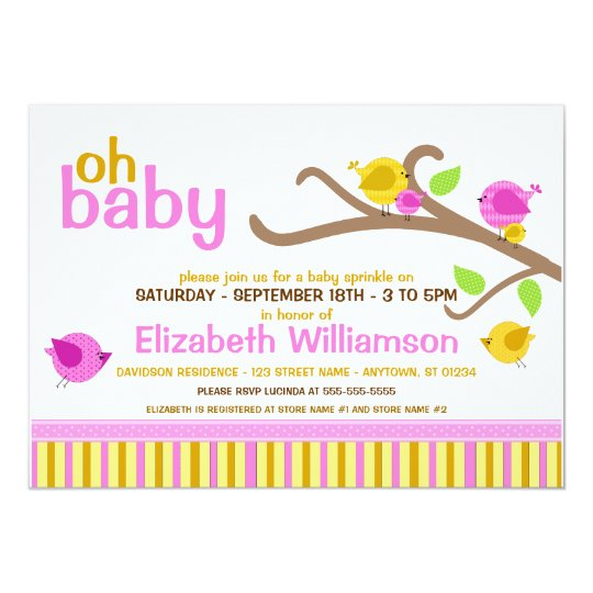 Cutie Birds Baby Sprinkle Invitations