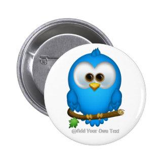 Cutie Blue Tweet Bird Personalized Buttons
