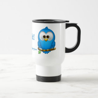Cutie Blue Tweet Bird Personalized Travel Mug