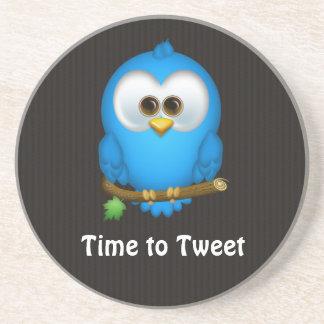 Cutie Blue Tweet Bird Sandstone Coaster