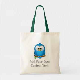 Cutie Blue Tweet Bird Tote Bags