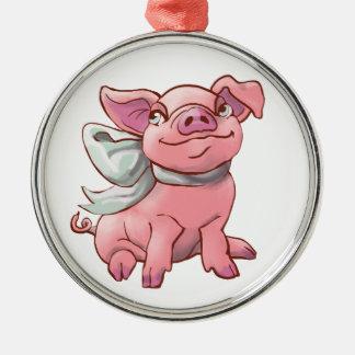 Cutie Bow Piglet Premium Round Ornament