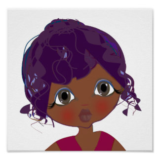 Cutie Brown observa el poster del arte del chica