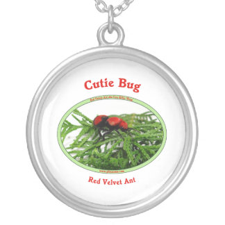 Cutie Bug Red Velvet Ant Wasp Silver Plated Necklace