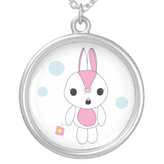 Cutie Bunny with Flower Round Pendant Necklace