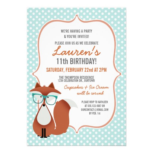 Personalized Fox birthday party Invitations – 11th Birthday Party Invitations