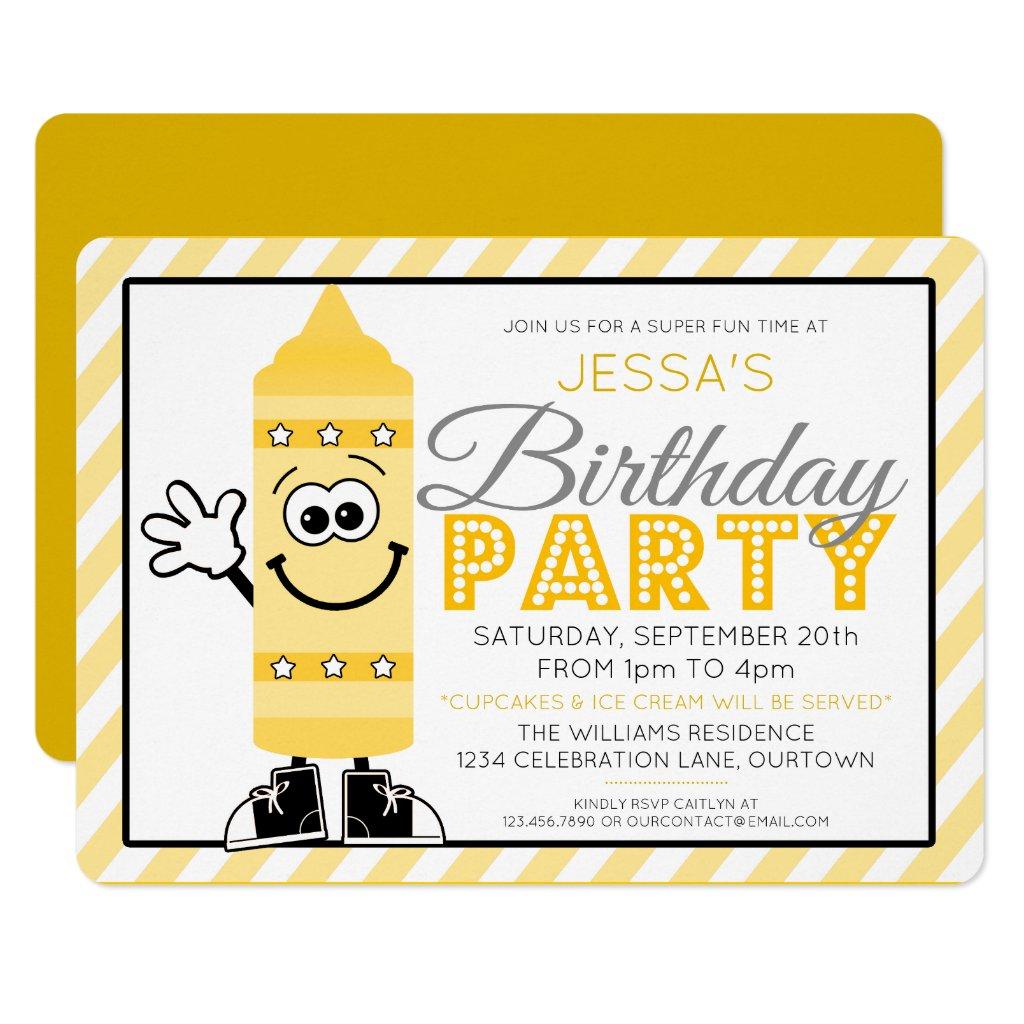 Cutie Cartoon Yellow Crayon Party Invitation