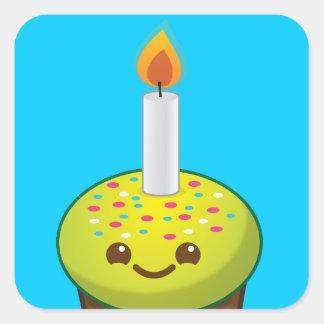 Cutie Cupcake Happy Birthday smiles Square Sticker