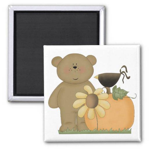 cutie del oso de peluche de la caída del otoño imán cuadrado
