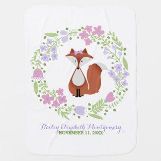 Cutie Fox Personalized Baby Blanket